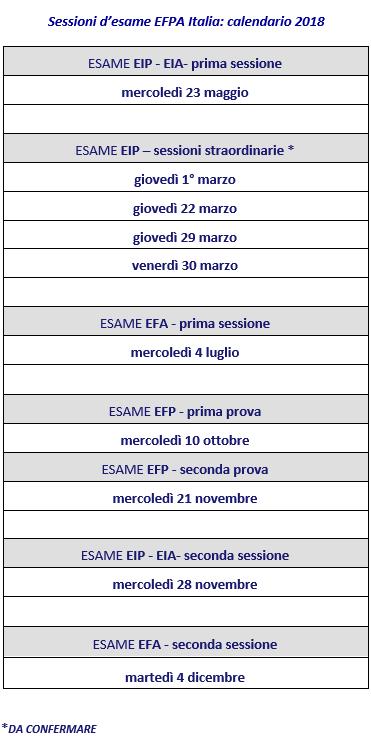 Calendario Esami.Calendario Esami 2018 Efpa Italia